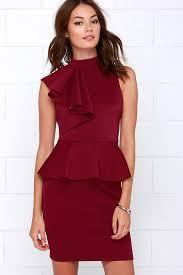 chic wine dress ruffle dress peplum dress 54 00