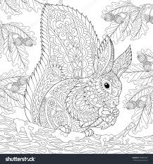 White Oak Tree Drawing Coloring Page Squirrel Sitting On Oak Stock Vector 700069162