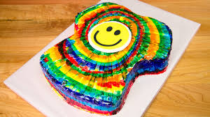 t shirt shaped rainbow tie dye cake from cookies cupcakes and