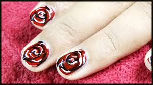 dark red rose nail art in short nails youtube