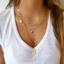layered rings necklace images Multilayer little necklaces gold color glaze coin beads feather jpg