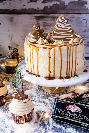 gingerbread cake with caramel cream cheese buttercream half