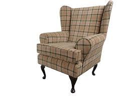 Tartan Armchairs Fawn Tartan Fabric Queen Anne Design Wing Back Fireside High Back