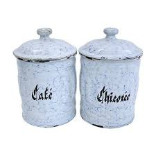 enamel kitchen canisters vintage french enamel kitchen canisters pair chairish set home