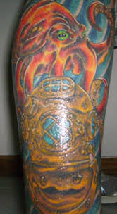 deep sea tattoos navy diver army tattoo on right leg