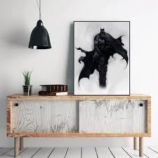 batman home decor unframed black white minimalist batman artwork black art wall