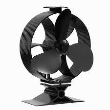 powered round stove fan 3 blade black aluminum wood burning stove