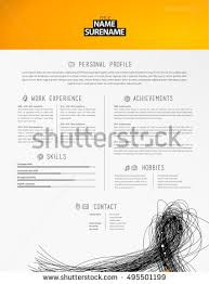 Resume Footer Creative Simple Resume Template Colorful Lines Stock Vector