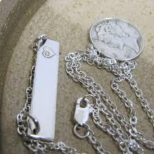 Silver Monogram Necklace Fine Silver Bar Necklace Silver Monogram Necklace Personalized