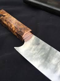 gyuto barthelmes blades japanese style chef knife z wear carbon steel copper cherry burl saya in ebony