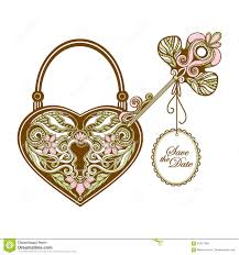 heart and key tattoo design stock vector image 82196561