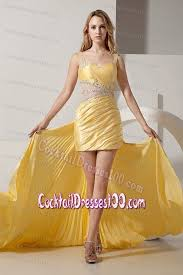 beaded yellow high low prom cocktail dresses