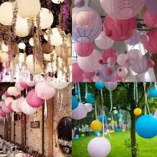 round paper lanterns ceiling décor ideas on wedding reception