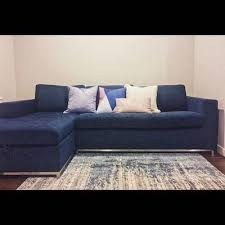 soma midnight blue left sofa bed sectionals article modern