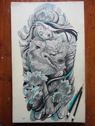 forearm wolf tattoos a beautiful holds her wolf in this fantasy tattoo sketch