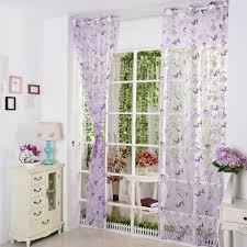 Purple Sheer Curtains Inspiring Isinotex Window Curtain Purple Butterfly Burnout Tulle