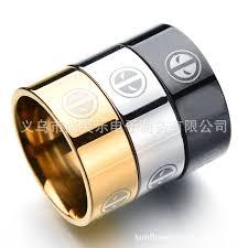 anime wedding ring marvel comic anime deadpool series stainless steel black silver
