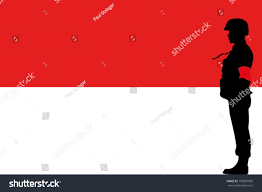 Red Flag Band Indonesian Flag Silhouette Soldier Red Arm Stock Vector 109857005