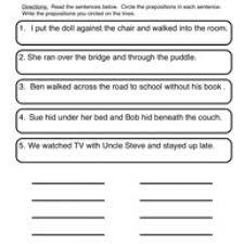 prepositions worksheet 1 circle u0026 write