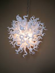 Glass Blown Chandelier Simple And White Blown Glass Chandelier Home