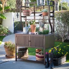 bench outdoor potting bench deluxe teak outdoor potting table