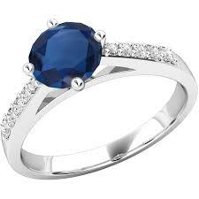 inele logodna aur alb inel cu safir si diamant dama aur alb 18kt cu un safir rotund