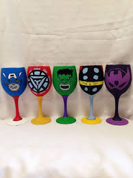the avengers inspired hand painted wine glass by awhimsicalhoot