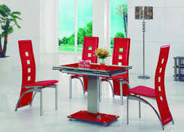 Red Dining Room Table Gomaz Contemporary Extendable Glass Dining Table With Amalia