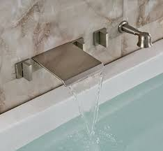 rozin brushed nickel wall mounted waterfall tub mixer faucet tap