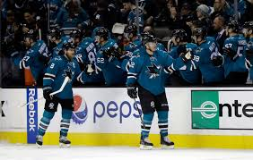 San Jose Sharks Flag Donskoi Has First Multi Goal Game Sharks Beat Flames 4 1 Boston