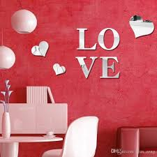 Heart Wall Stickers For Bedrooms 3d Loving Heart Shape Mirror Wall Stickers Diy Art Decal