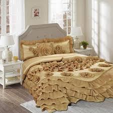 Beachy Comforters Tache 6 Piece Solid Floral Sandy Beach Gold Elegant Ruffle