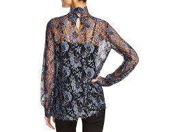 cynthia rowley blouse lyst cynthia rowley lace high neck blouse in blue