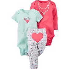Macy S Children S Clothes Carter U0027s Infant Girls Heart Bodysuit And Pants 3 Pc Set