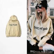 2017 justin bieber fear of god hoodie khaki big hooded hoodie