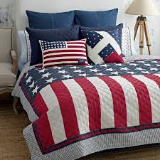 Americana Flags Red White Blue Bedding Twin Quilt Tommy Hilfiger Americana