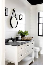 green and white bathroom ideas brown floor tiles with antique wooden vanity for impressive