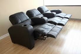 broadway black leather home theater recliner seats row of 3