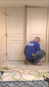 Hanging Prehung Door Interior How To Install A Double Prehung Door In Less Than 10 Minutes Youtube