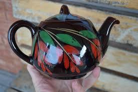 vintage drip glaze l vintage redware teapot royal canadian art pottery non drip 4 cup