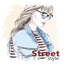 stylish hand drawn in sunglasses fashion woman sketch