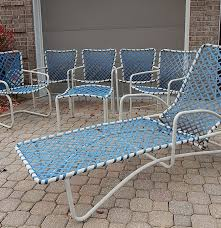 Patio Furniture Columbia Md by Brown Jordan White Patio Furniture W Blue Strapping Ebth