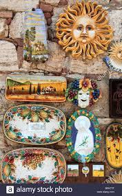 bagno shop handicraft souvenirs on wall of shop bagno vignoni tuscany