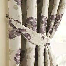 Aubergine Curtains Floral Jacquard Curtain Tiebacks Pair Grape
