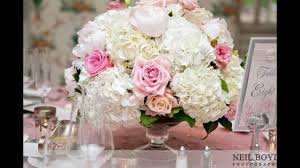White Roses Centerpieces by White Hydrangea And Pink Rose Centerpieces Youtube
