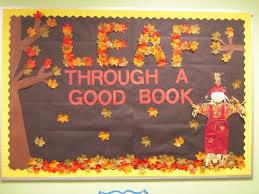 leaf through a book fall bulletin board learning