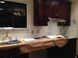 interior kitchen herringbone marble backsplash installation a