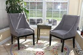 Dining Sofa Chair Set Of 2 Modern Grey Arm Slipper Dining Sofa Chair Accent Living