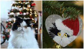 painted cat ornament