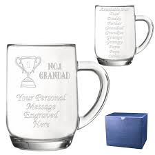 personalised no1 dad glass pint tankard engraved gift sparkle gifts